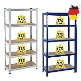 Schwerlastregal 170x75x30cm (HxBxT) Regal Metall 5 Etagen Kellerregal, Lagerregal, Werkstattregal oder Garagenregal - 5 MDF-Platten, Tragkraft bis zu 875kg - Blau