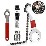 Ulikey Fahrrad Kassette Removal Tool, Multifunktional Fahrrad Reparatur Werkzeug Set mit 5-11 Fach Kompatibel Kettenpeitsche Kurbel Kette Achse Demontage Werkzeug