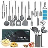 PAIPU Küchenhelfer Set, 32 Stück hitzebeständige Antihaft-Küchenutensilien, Nudelschaber-Set, 3 Kuchen-Spatel, Kartoffelstampfer, Edelstahl-Schneebesen, Schäler, grau