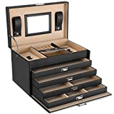 SONGMICS Schmuckkasten, Schmuckbox mit 5 Ebenen, Schmuck-Organizer, Schmuckaufbewahrung, 4 herausziehbare Schubladen, 11 Fächer, Spiegel, abschließbar, mit Schlüsseln, schwarz JBC001