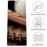 Old Baseballschläger und Handschuh, Yogamatte, rutschfest, TPE-zertifiziert, ungiftig, für Yoga, Pilates, 182,9 x 81,3 x 0,3 cm