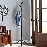 VlushStabiler Garderobenständer aus Holz Eingang in Baumform Kleiderständer mit Solider Basis für Kleidung,Geldtasche, Schals,Hüte,Schirmständer, 8 Haken (Braun)