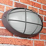 Maritime Wandleuchte E27 AMSTERDAM wetterfest B:32cm oval Ziergitter Außenlampe Anthrazit Haus Tür