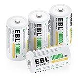 EBL Mono D Akku 10000mAh NI-MH Akku wiederaufladbaren Batterie Typ D Akku 4 Stück