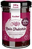 Xucker Fruchtaufstrich Rote Früchte mit Xylit 220g - Erdbeere, Sauerkirsche, Himbeere & Johannisbeere I 74% Fruchtgehalt I vegan & zuckerarm
