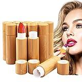 12 Stück Leer Lippenstift Kunststoff Lippenstifthülsen mit Bambusschale, MERYSAN 5ml Nachfüllbar Leer Lippenbalsam Hülsen DIY Lippen Balm Tubes Container Hausgemachte Lippenbalsams