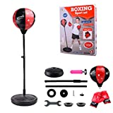 Sommer's Laden Punchingball Boxstand Höhenverstellbarer Standbox, Reflex Fightball Set Speed Fitness Punch Boxing Ball Mit Kopfband, Kinder Jugend Höhenverstellbar