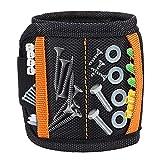 Magnetische Armbänder, DIAOCARE Magnetarmband mit 2 kleinen Taschen,15 Kraftvollen Magneten Verstellbares Klettband Magnetisches Armband Werkzeug zum Halten von Werkzeug,Schrauben,Bohrer,Nägel
