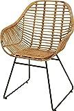 Korb-Sessel Retro-Stil Rattan Club-Sessel 50er Eisen-Gestell Korbstuhl mit Armlehne Lounge Esszimmer-Sessel