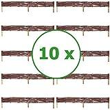 BOGATECO 10 x Beeteinfassung aus Weide | 100 cm Lang & 10 cm Hoch | Holz-Zaun Rasenkante | Weiden-Zaun Steckzaun Perfekt für den Garten als Weg-Abgrenzung