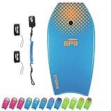 BPS Storm Bodyboard – inkl. Premium Spiral-Leine und Schwimmflosse, Blue, Orange, 41 Inch