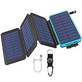 GOODaaa Solar Powerbank 25000mAh, Solar Power Bank Outdoor mit 3 Ausgängen, Solar Ladegerät mit Taschenlampen-Kompass für Handy Tablet Smartphone, Alle USB-Geräte (Blau)