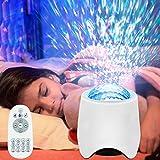 Sternenhimmel Projektor Nachtlicht, LIGHT Wasserwelle LED Sterne Projektor Lampe Eingebauten Bluetooth Lautsprecher Sound Sensor, USB Fernbedienung, für Baby Kinder Schlafzimmer, Haus Dekoration