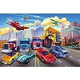 GREAT ART Fototapete – Autorennen – für Kinderzimmer Wandbild Dekoration Flugzeug Cars Abenteuer Feuerwehr Sportwagen Auto Cabrio Comic Foto-Tapete Wandtapete (336 x 238 cm)
