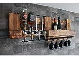 WANDBAR Regal mit 4 Getränkespender, inkl. 4 Dosierer Proportionierer,für Cocktail´s, Gin, Longdrinks im Industrial Vintage Landhaus Stil, Hausbar Butler, Weinregal aus Palettenholz