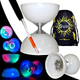 Juggle Dream 'Lunar Spin' GLOW-LED Diabolo für Anfänger mit Diablo Alu Handstäbe und Diaboloschnur +Tragetasche! Jongliergeräte / Diabolo Für Kinder