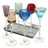 7-teiliges Set Langer Stiel Likör   Artland Likör Jewel Tone Cordial Set, Brillen, Apertif Gerahmter Kunstdruck, Digestif Gläser