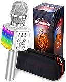 BONAOK Mikrofon mit Lautsprecher Led, Tragbares 4 in 1 Mikrofon Kinder mit Aufnahmefunktion, Zuhause Party Karaoke Dynamische Bluetooth Mikrofone für Android/iOS (Silber)