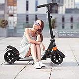 Hiriyt Leicht Scooter T-Style Stabile, aus Aluminiumlegierung, Klappbar und Höhenverstellbar, Big Wheel 195mm Räder Cityroller für Erwachsene (Black)