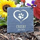 TULLUN Individueller Personalisiert Tiergrabstein Schiefer Gedenkstein für Hund, Katze und andere Haustiere - Größe 10 x 10 cm - Herz
