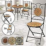 Jago Mosaik Gartenstühle Rund, 2er Set - Klappbar, 46cm Sitzhöhe, Massiv und Stabil (Terracotta-Schwarz) - Farb und Designauswahl - Mosaikstühle, Klappstühle, Balkonstühle