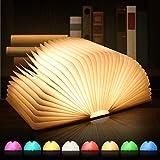 Große LED Buch lampe, 8 Farbmodi Buchlampe, Hölzerne faltende Buch-Lampe, USB wiederaufladbar Tischleuchte, Nachttischlampe, dekorative Lampen, 360°Faltbar