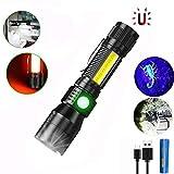 3 In 1 UV Taschenlampe LED, Taktische Taschenlampe USB Aufladbar, Starke Magnete COB Arbeitsleuchte mit Rotlicht, iToncs 395nm UV Lampe Licht für Banknoten, Urin von Haustiere(mit 3000mAh 18650 Akku)