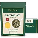 VAHDAM, Minze Grüner Tee Loose Leaf (100 Tassen) | REICHE ANTI-OXIDANTEN | Pfefferminztee mit reinen grünen Teeblättern ERFRISCHENDER MINTTEE | 200gr