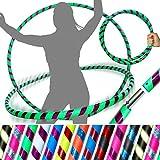 Pro HULA HOOP Reifen für Anfänger und Profis (10 Farben Ultra-Grip/Glitter Deco) Faltbarer TRAVEL Hula Hoop ideal für Hoop Dance, Fitness Training, Zirkus & Festivals! (Grun/Lila Glitter 100cm/25mm)