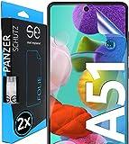 [2 Stück] 3D Schutzfolien kompatibel mit Samsung Galaxy A51 - [Made in Germany - TÜV NORD] HD Displayschutz-Folie - Hüllenfreundlich – Transparent – kein Schutz-Glas - Panzer-Folie TPU - Klar