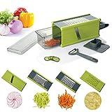 Kalokelvin Vierkantreibe mit Auffangbehälter | Kartoffelreibe | Küchenreibe | Käsereibe, Manuelle Gemüsehobel mit 4 Edelstahlklingen Reibe für Gemüse und Käse