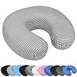 WELLGRO Nackenkissen mit abnehmbarem Bezug - Memory Schaum - Reißverschluss - inkl. Transportlasche - ca. 28 x 28 x 9 cm (LxBxH) - Reisekissen - Farbe wählbar, Farbe:Grau mit Streifen