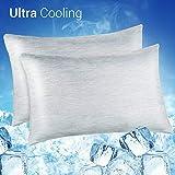 Luxear Kühlender Kissenbezug kissenhülle Kopfkissenbezug Bettkissenbezug mit Japanische Seide Kühlfaser Atmungsaktiv Superweich (50 * 65cm Grau)