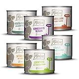 MjAMjAM - Premium Nassfutter für Hunde - Mixpaket II - mit Huhn & Ente, Rind, Pute, Kalb, Truthahn, Lamm, 6er Pack (6 x 200 g), getreidefrei mit extra viel Fleisch