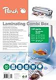 Peach PPC500-03A Laminierfolien Spar-Set 100 Folien | A4, A5, A6 und Visitenkarte | 2 x 80 mic | glänzendes Finish | kompatibel mit Laminiergeräten aller Markenhersteller
