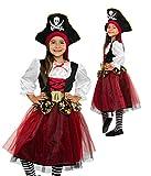 Magicoo schickes Piratenkostüm Mädchen Kinder Gr 116 bis 146 inkl. Kleid & Hut - Piraten Kostüm Fasching (140/146)