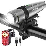 PUTARE 【2020 Neuestes Modell】 Fahrradlicht Set,StVZO USB Wiederaufladbare Fahrrad Licht,Mit 2 Leuchtmodi IPX5 Wasserdicht Fahrradbeleuchtung,Ultra-Bright Fahrradlampe mit Frontlicht und Rücklicht