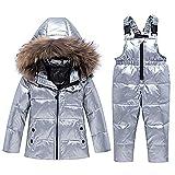 amropi Skianzug Mädchen Kinder Schneeanzug Daunenjacke mit Kaputze + Skihose 2tlg Bekleidungsset Winteranzug Silber,3-4 Jahre