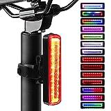 Angda Fahrrad Rücklicht LED Fahrradlicht, USB Aufladbar Fahrradbeleuchtung Fahrradrücklicht mit IPX6 Wasserdicht, Regenbogen Farbwechsel Rücklicht mit 14 Modi für Radfahren, Camping usw