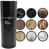 brains&son Streuhaar - Premium Haarverdichtung/Schütthaar mit Soforteffekt bei Geheimratsecken, Haarausfall und lichtem Haar - Haarpuder | 25g (Dunkelbraun)