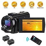 CamVeo Videokamera, Camcorder HD 1080P 24MP Vlogging Kamera für YouTube 16X Digitalzoom 3,0 Zoll LCD 270 Grad drehbarer Bildschirm Kamera Recorder mit Fernbedienung, 2 Batterien
