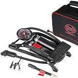 HEYNER 225010 Fußpumpe 'Black Edition' 2 Zylinder Luftpumpe 10 Bar + Tasche