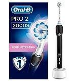 Oral-B PRO 2 2000S Elektrische Zahnbürste mit visueller Andruckkontrolle für extra Zahnfleischschutz, schwarz, 1 Stück