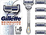 Gillette SkinGuard Sensitive Rasierer Herren, klinisch getestet für empfindliche Haut, Rasierer + 6 Rasierklingen
