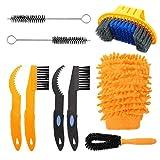 SUI-lim 8 Stück Reinigungsbürste Fahrrad, Fahrrad Clean Brush Kit, Fahrrad Reinigungsset, für Fahrradkette/Reifen/Sprocket Radfahren Ecke Fleck Schmutz Clean, für Alle Fahrräder