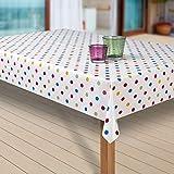 laro Wachstuch-Tischdecke Abwaschbar Garten-Tischdecke Wachstischdecke PVC Plastik-Tischdecken Eckig Meterware Wasserabweisend Abwischbar G03, Muster:Punkte Weiss-bunt, Größe:80x80 cm