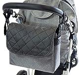 Baby Wickeltasche Kinderwagentasche Reisetasche Windeltasche Pflegetasche Babytasche Umhängetasche Muster Graues Len schwarzes Leder [059]