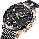 Uhren Herren Schwarz Edelstahl Mesh Band Chronograph Quarz Uhr Männer Datum Kalender Wasserdicht Multifunktions Armbanduhr Mesh Metall-Armband