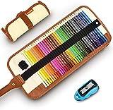 Buntstifte Set, 36 Brillanten Farben Bleistift Set mit Rollbaren Canvas Tasche für Kinder & Erwachsene (Khaki)