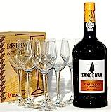 Sandeman tawny Port 1,0 L + 6 neutrale Gläser